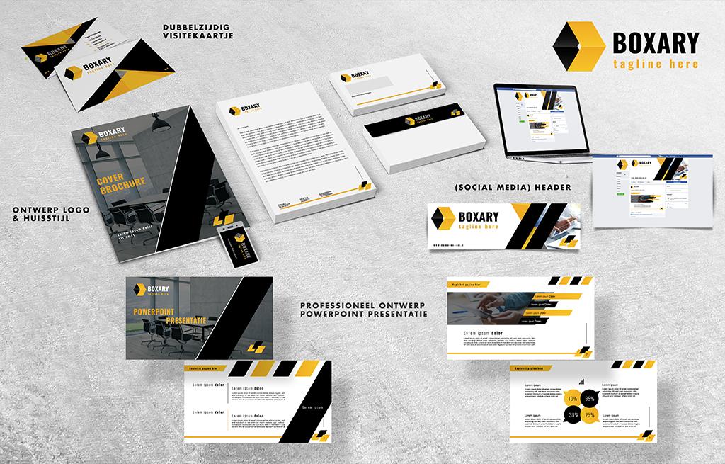 Ontwerp logo, huisstijl, visitekaartje, header en PowerPoint presentatie